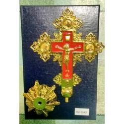 Крест металлический на подст. КР134 красн. и синяя эмаль