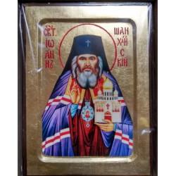 Иоан Шанхайский Икона Греческая писаная на золоте в коробке 17*23