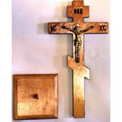 Крест распятье, дерево 2 (пластм. распятие.) на подставке