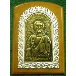 Икона на дереве литье  Спаситель11х15см