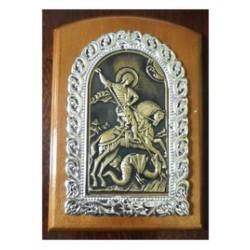 Икона на дереве литье Георгий11х15см