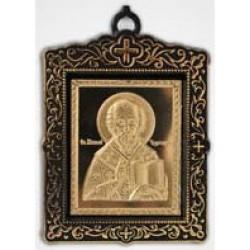 Икона пл.с метал. изображением квадратная Николай