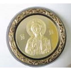 Икона пл.с метал. изображением круглая Спаситель