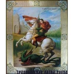 Георгий Победоносец на коне икона на оргалите 30х40