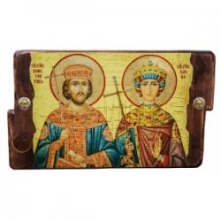 Константин и Елена Икона  Греческая под старину 170х230 двойная
