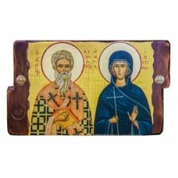 Киприан и Иустиния Икона  Греческая под старину 170х230 двойная