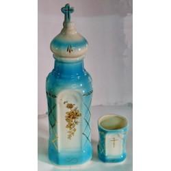 Бутылка керам. + стакан голубая+желт Г