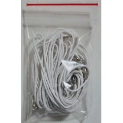 Нить с карабинчикоч белая 0,7м, упаковка 100 шт К