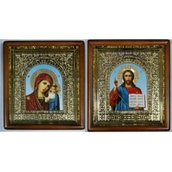 Казанская и Спаситель Киоты Д пластиковая вставка 15х18 цена за пару 17