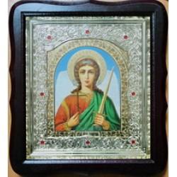 Ангел Хранитель Арка Киот Д дер.фигурный пл.вставка 15х18 20ф с камнями