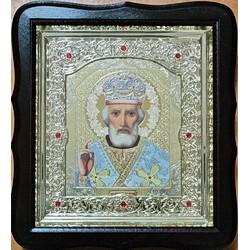 Николай  Соф.бел.Киот Д  дер.фигурный пл.вставка 15х18 20ф с камнями