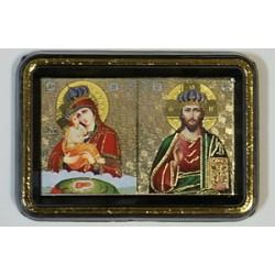 Почаевская в короне Б.М.+ Спаситель Двойник пластм.  упаковка 25 шт