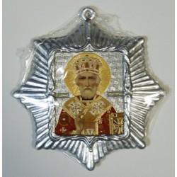 Николай Чудотворец Звезда Икона Малая  сер. б/о (80х85)