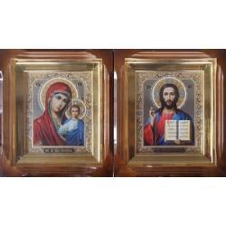 Киот Г прямой дер. фреза ( дв. тисн.) 15х18 пара (цена за 2 иконы)