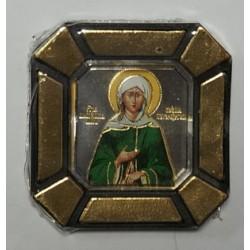 Ксения Петербургская Одинарная икона в стекле    упаковка 25 шт