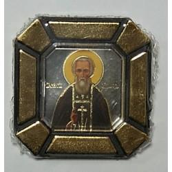 Сергий Радонежский Одинарная икона в стекле    упаковка 25 шт