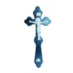 Крест погребальный с пл. белым распятием