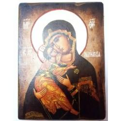 Владимирская Икона  Греческая под старину ХОЛСТ НИМБЫ 16х22