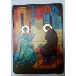 Благовещенье Икона  Греческая под старину ХОЛСТ НИМБЫ 16х22
