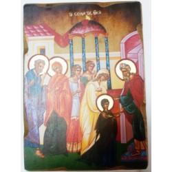 Введение во Храм Икона  Греческая под старину ХОЛСТ НИМБЫ 16х22