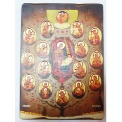 Древо Богородицы Греческая под старину ХОЛСТ НИМБЫ 16х22
