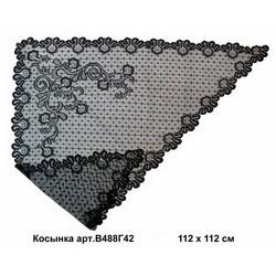 Косынка ажурная черная В-488Г42  105 х 105