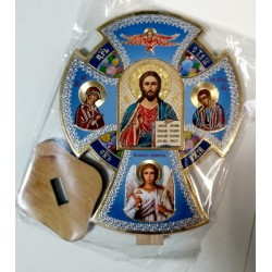 Крест СИНИЙ  на подставке Благословение дома  дерев.Ш