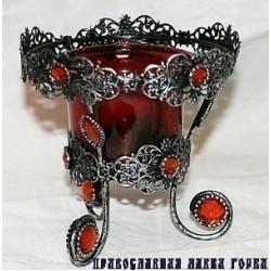 Лампада КУ068В  с красн стаканом, 96 шт в ящ (1113-131)