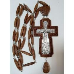 Наперсный  наградной крест  с цепочкой красн.дерево серебрение
