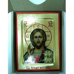 Спаситель Икона Греческая писаная на золоте в коробке 13х17
