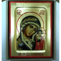 Казанская Икона Греческая писаная на золоте в коробке 13х17