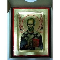 Николай Икона Греческая писаная на золоте в  коробке 13х17