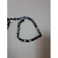 Темно серый круглый камень на нитке 35шт цена за нитку