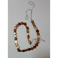 Светло коричневый  круглый камень на нитке 35шт цена за нитку