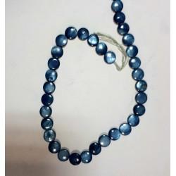 Голубой  круглый камень на нитке 35шт цена за нитку