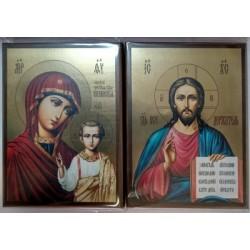 Казанская+Спаситель цена за пару Икона на планшете 14х19