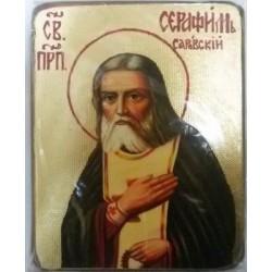 Серафим Саровский Икона  Греческая под старину ХОЛСТ ЗОЛОТО 10х12