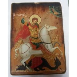 Георгий Икона  Греческая под старину ХОЛСТ НИМБЫ 10х12