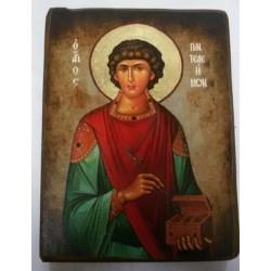 Пантелеимон Икона  Греческая под старину ХОЛСТ НИМБЫ 10х12