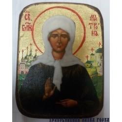 Матрона Икона  Греческая под старину ХОЛСТ ЗОЛОТО 10х12