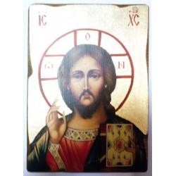 Спаситель 1 Икона  Греческая под старину ХОЛСТ ЗОЛОТО 16х22