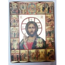 Спаситель 2 Икона  Греческая под старину ХОЛСТ ЗОЛОТО 16х22