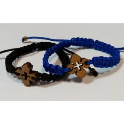 Браслет плетеный черный и синий  с дер.крест.10шт Р