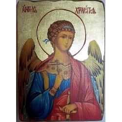 Ангел Хранитель Икона  Греческая под старину ХОЛСТ ЗОЛОТО 16х22