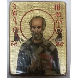 Николай Икона  Греческая под старину ХОЛСТ ЗОЛОТО 16х22