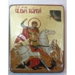 Георгий Икона  Греческая под старину ХОЛСТ ЗОЛОТО 16х22
