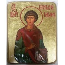 Пантелеймон Икона  Греческая под старину ХОЛСТ ЗОЛОТО 10х12