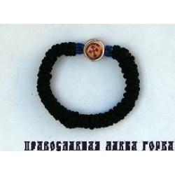 Браслет с иконой , черный ручное плетение Греция