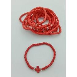 Браслет КОМБОСКИНИ  ручное плетение КРАСНЫЙ  Греция