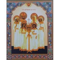 Царские мученики полиграф,4,2х5 см для складней и мал. икон упаковка 100 шт